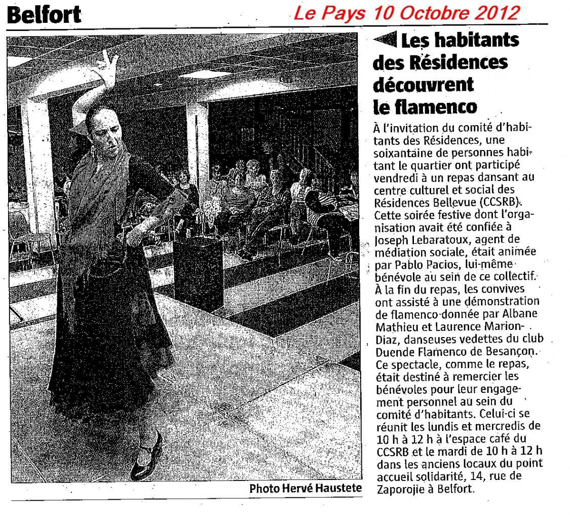 Article Le Pays 101012 Danse CCSRB Belfort