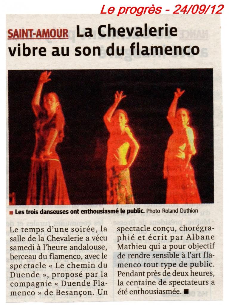 Article Le Progrès 240912 Chemin du Duende St Amour