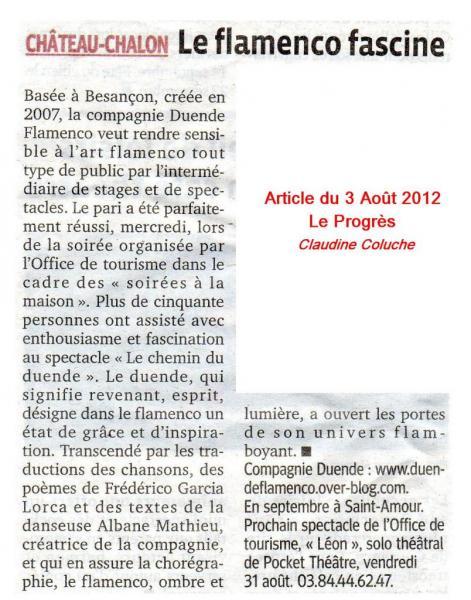 Article Le Progrès Chemin Duende Château Chalon 010812