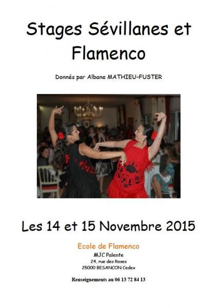 Affiche stage decouverte du flamenco et sevillanes novembre 2015