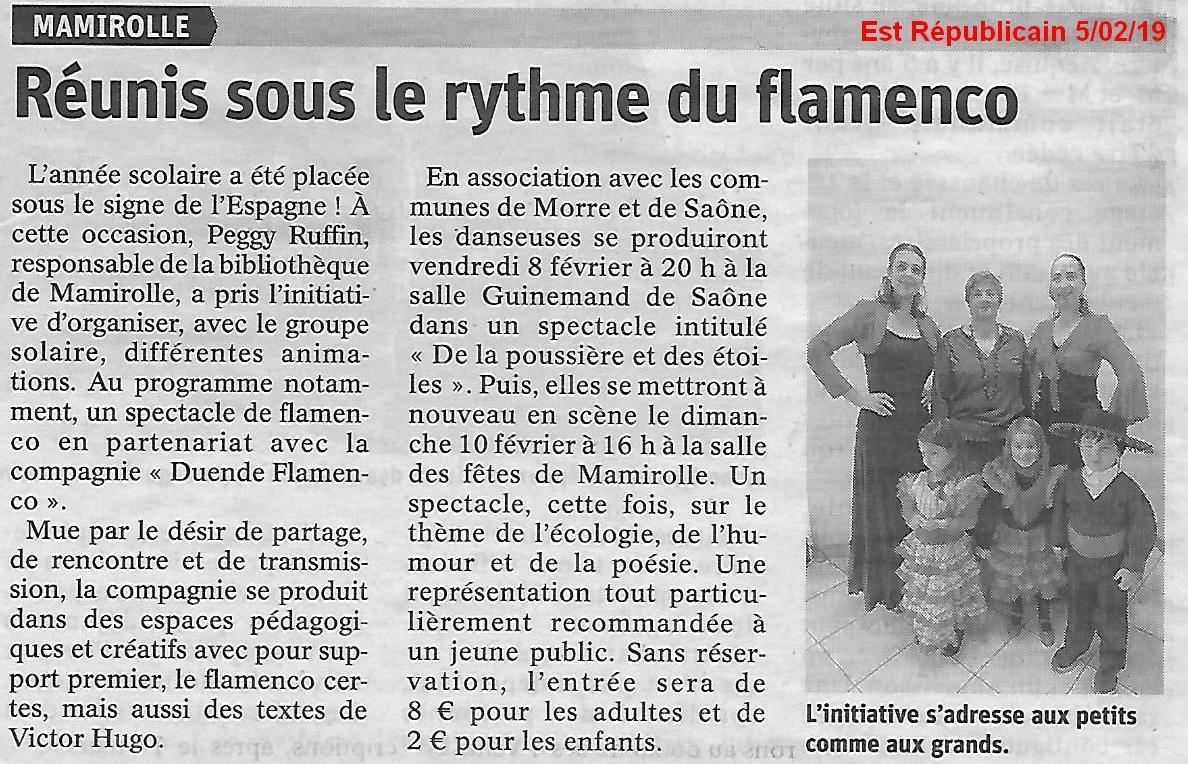 Article est rep 050219 animation plateau mamirolle duende flamenco