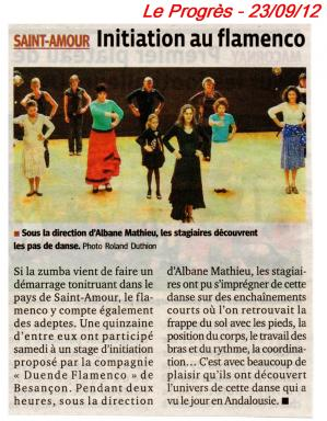 Article le progres 230912 decouverte flamenco st amour